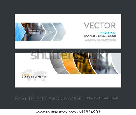 Vector set of modern horizontal website banners with grey geometric shapes for industry, beauty, tech, communication. Clean web headers design with overlay effect.  #611834903