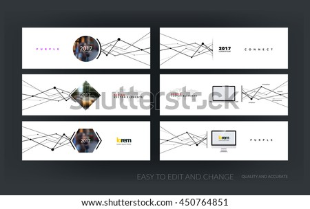 Vector set of modern horizontal website banners with grid, mesh, dots and lines for business books with communication and connection concept. Web headers design. Creative corporate vector flyer.