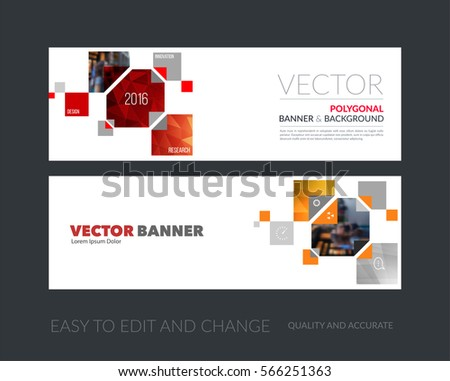 Vector set of modern horizontal website banners with yellow rectangles, geometric triangles for industry, beauty, tech, communication. Clean web headers design with overlay effect. #566251363