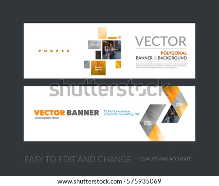 Vector set of modern horizontal website banners with yellow squares, rectangles for industry, beauty, tech, communication. Clean web headers design with overlay effect.  #575935069
