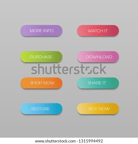 Vector set of modern material style buttons.Colorful long round web buttons. #1315994492