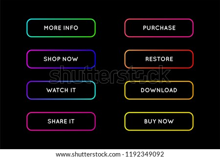 Vector Set of Modern Neon App or Game Buttons. Trendy gradient neon colors.