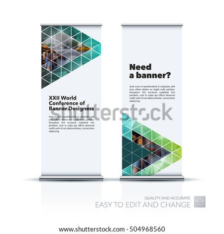 Vector set of modern roll Up Banner stand design with polygonal elements, diagonal, triangles for business, building, finance. Brochure for exhibition, fair, festival, show. Chrome tubes, clear style.