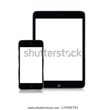 vector set of modern tablet and