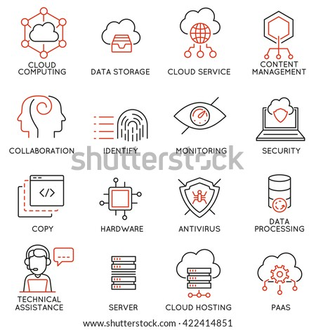 Vector set of 16 modern thin line icons related to cloud computing service and data storage. Simple mono line pictograms and infographics design symbols - part 1