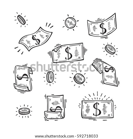 Vector Set of Money. Hand Drawn doodle Dollar Banknotes and Coins