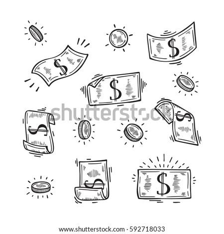 vector set of money hand drawn