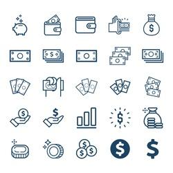 Vector Set of money line icons