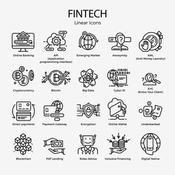 Vector set of monoweight linear icons and symbols on Fintech. Editable stroke design elements on innovative Financial Technology, featuring Blockchain, direct payments, Underbanked, Encryption, etc.