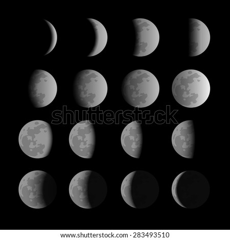Vector set of moon phases Foto stock ©