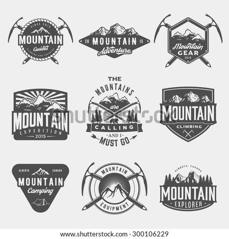 vector set of mountain...