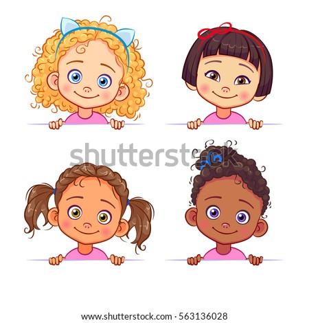 vector set of multi ethnic...