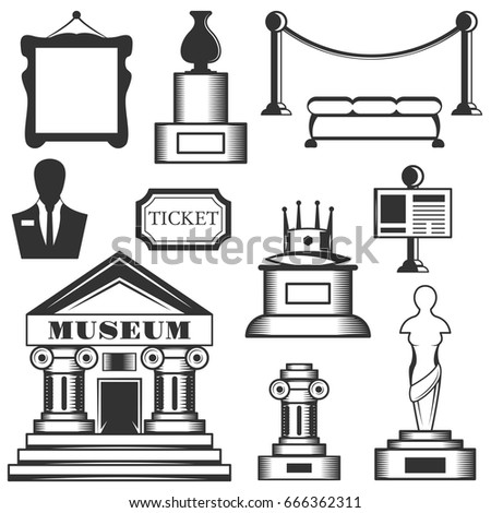 Vector set of museum isolated icons. Black and white museum symbols and design elements. Art, statue, museum building, ticket.