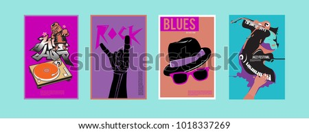 Vector set of music event poster design template. Rock, jazz, blues and hip hop poster design. Eps 10.  #1018337269