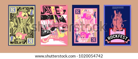 Vector set of music event poster design template. Rock, jazz, blues and hip hop poster design. Eps 10.  #1020054742