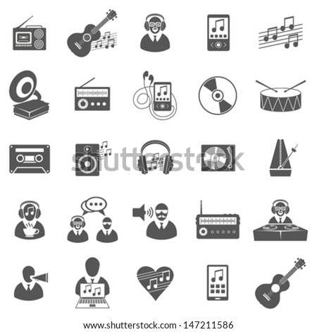Vector set of music icons, symbols and pictograms
