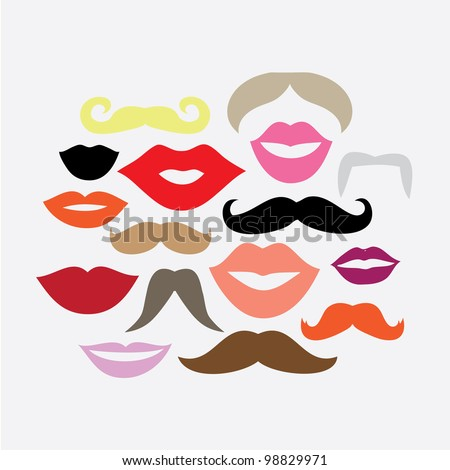 Vector Set of 16 Mustaches and Lips