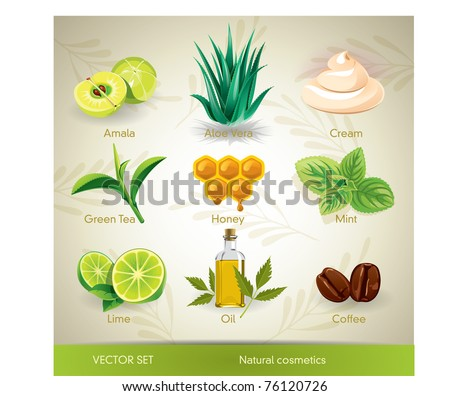 Vector set of natural cosmetics ingredients.