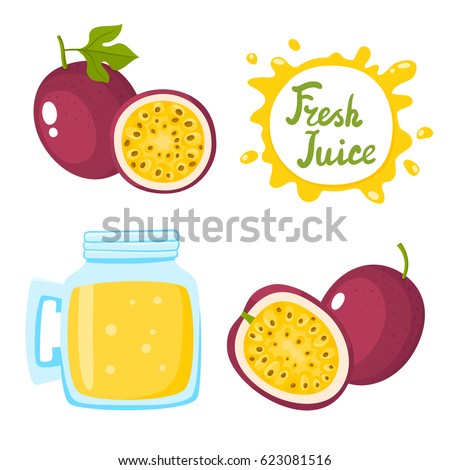 Vector set of natural fresh passion fruit juice in bank and passion fruitsisolated on white in cartoon style. Healthy organic fruit drink and speech bubbles with handwritten lettering