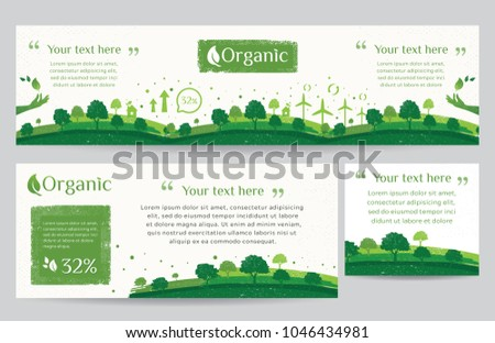 Vector set of nature, ecology, organic, environment banners. Web banner of Clean green environment with grunge style