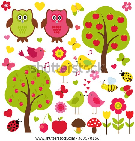 vector set of nature love