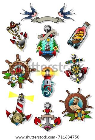 Vector Set of Nautical Attributes. Marine Tattoo Art