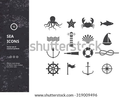 vector set of nautical icons