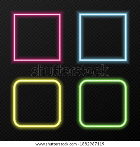 Vector set of neon frames of different colors. Different colors of neon light png. Neon, png frame. Frames for text. Neon lights. Vector image.