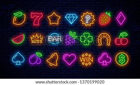Vector set of neon gaming icons for casino. Neon signs for slot machines.