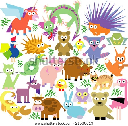 vector set of new geo animals 26 - stock vector