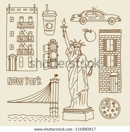 Vector set of New York city icons - stock vector
