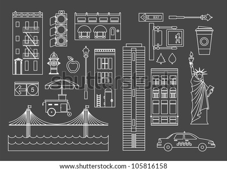 Vector set of New Yourk city icons - stock vector