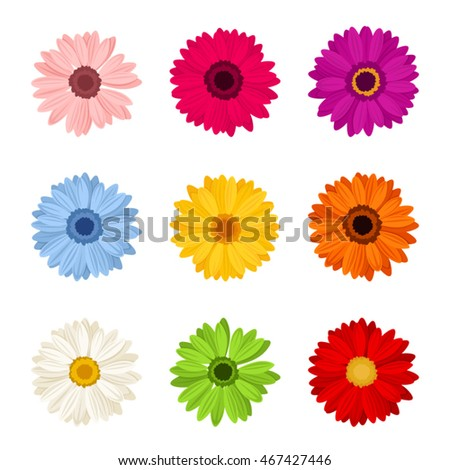 vector set of nine colorful