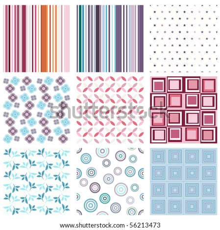 Vector set of nine different seamless pattern - stock vector