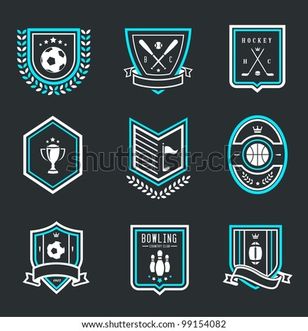 Vector set of nine modern sport emblems - stock vector