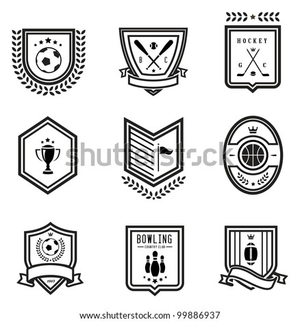 Vector set of nine outlined sport emblems