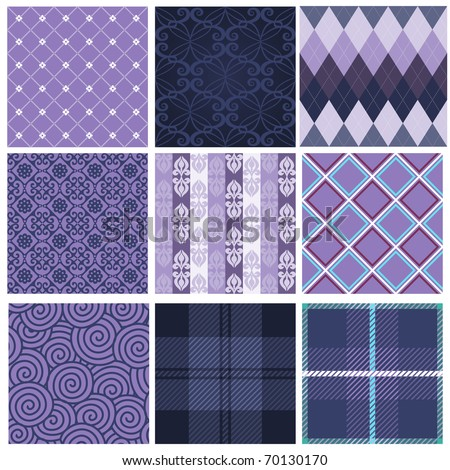 Vector set of nine purple seamless pattern