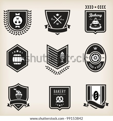 Vector set of nine various food emblems