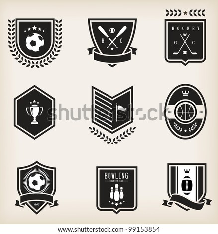 Vector set of nine various sport emblems