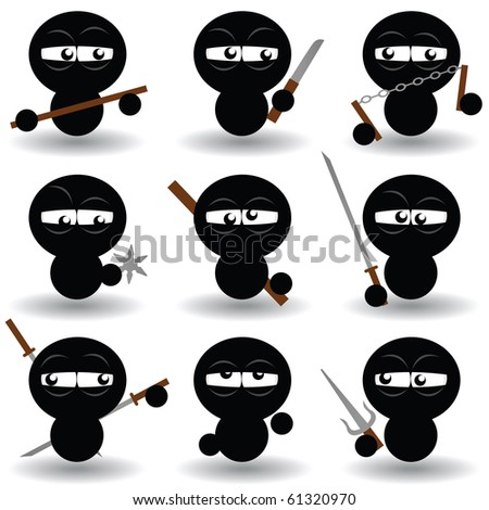 vector set of ninjas