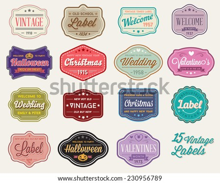 Vector Set of 15 of Vintage Retro Styled Premium Design Labels