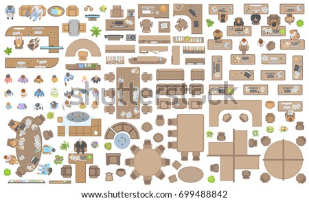 Vector Set Of Office People At Work And Furniture Top View
