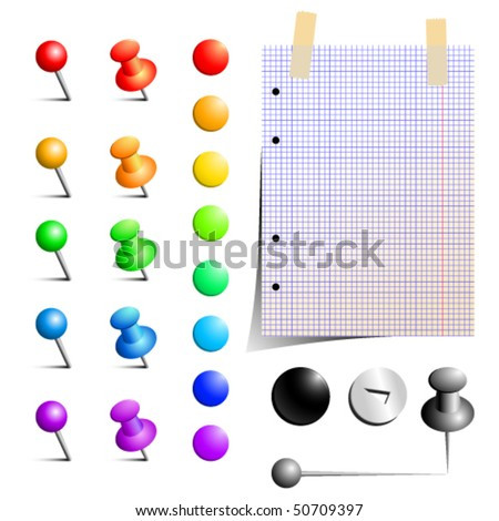 Vector set of office pins