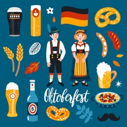 Vector set of Oktoberfest icons: german beer, pretzel, sausage, man and woman in traditional bavarian costumes. Cute sticker collection for folk festival in Germany. Munich symbols. Food and drinks.