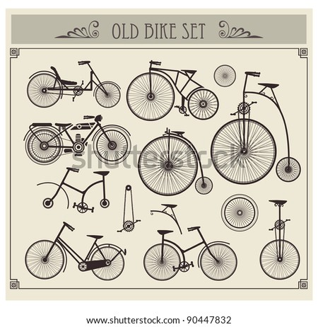 vector set of old bikes on a...