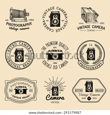 vector set of  old cameras