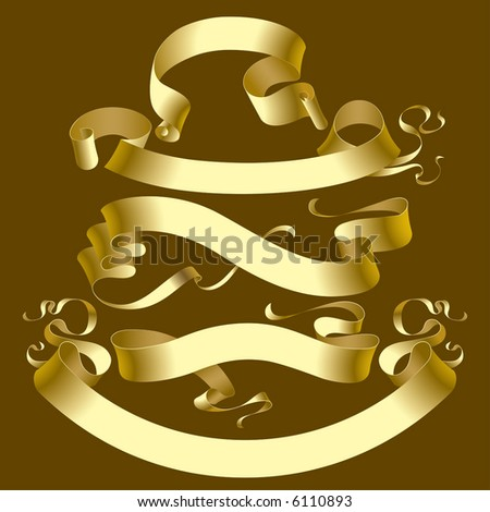 Vector set of old gold banners