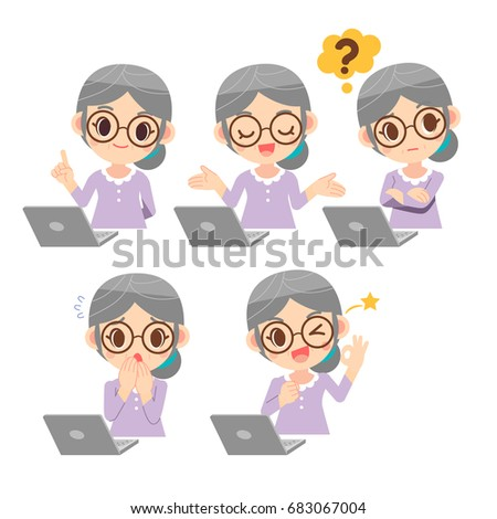 Vector set of old woman, elderly wearing eyeglasses in various emotion with computer labtop, notebook isolated on white background.