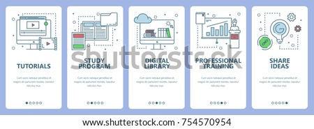 Vector set of onboarding screens for mobile apps. Banners with Tutorials, Study program, Digital library, Professional training, Share ideas concept web elements. Thin line flat icons for website menu