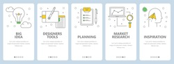 Vector set of onboarding screens for mobile apps. Big idea, Designers tools, Planning, Market research, Inspiration web templates and banners. Thin line art style design icons for website menu.
